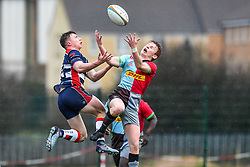 Charlie Powell of Bristol Academy U18 and Caolan Englefield of Harlequins Academy U18 compete for the high ball - Mandatory by-line: Craig Thomas/JMP - 03/02/2018 - RUGBY - SGS Wise Campus - Bristol, England - Bristol U18 v Harlequins U18 - Premiership U18 League