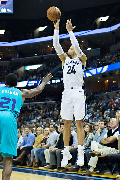 MEMPHIS, TN - OCTOBER 30:  Dillon Brooks #24 of the Memphis Grizzlies shoots a three point shot during a game against the Charlotte Hornets at the FedEx Forum on October 30, 2017 in Memphis, Tennessee.  NOTE TO USER: User expressly acknowledges and agrees that, by downloading and or using this photograph, User is consenting to the terms and conditions of the Getty Images License Agreement.  The Hornets defeated the Grizzlies 104-99.  (Photo by Wesley Hitt/Getty Images) *** Local Caption *** Dillon Brooks