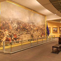 A large painting of the Battle of Gettysburg is on display at the Pennsylvania State Museum in Harrisburg.