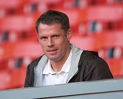LIVERPOOL, ENGLAND - Wednesday, August 17, 2011: Liverpool's Jamie Carragher watches their team's U19's in action against Sporting Clube de Portugal during the first NextGen Series Group 2 match at Anfield. (Pic by David Rawcliffe/Propaganda)