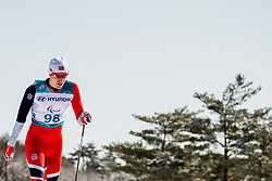March 17, 2018 - Pyeongchang, SOUTH KOREA - 180317 HÅ'kon GrÂ¿nsveen Olsrud of Norway competes in the men's 10 km standing cross-country skiing during day eight of the 2018 Winter Paralympics on March 17, 2018 in Pyeongchang..Photo: Vegard Wivestad GrÂ¿tt / BILDBYRN / kod VG / 170134 (Credit Image: © Vegard Wivestad Gr¯Tt/Bildbyran via ZUMA Press)