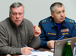 Governor of Rostov Region Vasily Golubev (L) attends an emergency meeting in Rostov-on-Don, southwestern Russia, March 19, 2016. A Boeing 737 passenger plane from Dubai crashed early Saturday at the destination airport in southwestern Russia, with all the some 60 people on board feared to have been killed, emergencies authorities and local media reports said. EXPA Pictures © 2016, PhotoCredit: EXPA/ Photoshot/ RIA<br /> <br /> *****ATTENTION - for AUT, SLO, CRO, SRB, BIH, MAZ, SUI only*****