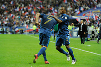 FOOTBALL - FIFA WORLD CUP 2014 - QUALIFYING - FRANCE v BIELORUSSIA - SAINT DENIS (FRANCE) - 11/09/2012 - PHOTO JEAN MARIE HERVIO / REGAMEDIA / DPPI - JOY FRANCK RIBERY (FRA) WITH PATRICE EVRA AFTER HIS GOAL