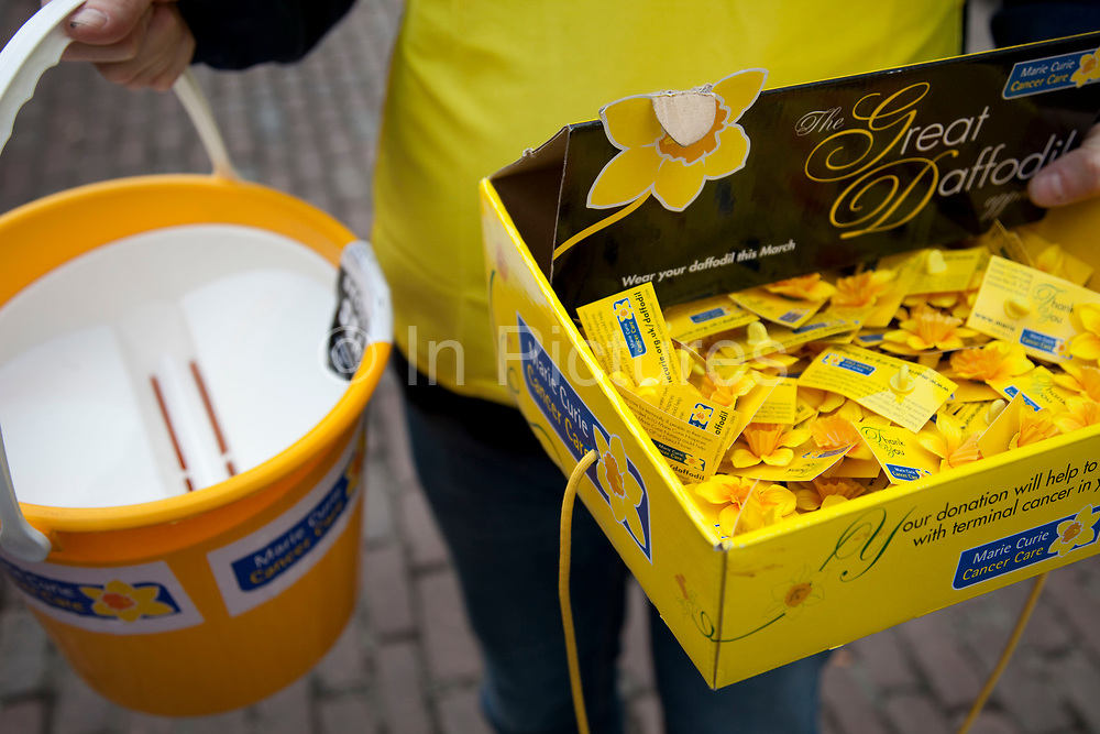Charity collection box for Marie Curie Cancer Care.