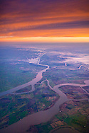 Aerial view at sunrise over the Sacramento  San Joaquin River Delta and Central Valley, California