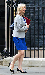 Downing Street, London, September 8th 2015.  Elizabeth Truss, Secretary of State for Environment, Food and Rural Affairs leaves 10 Downing Street following the first cabinet meeting after the summer holidays, prior to a debate in the House of Commons on the refugee crisis.