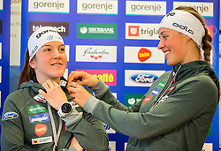 Lea Einfalt and Anamarija Lampic during official presentation of the outfits of the Slovenian Ski Teams before new season 2016/17, on October 18, 2016 in Planica, Slovenia. Photo by Vid Ponikvar / Sportida