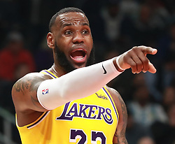 February 12, 2019 - Atlanta, GA, USA - Los Angeles Lakers forward LeBron James directs his team against the Atlanta Hawks during the first half on Tuesday, Feb. 12, 2019 in Atlanta, Ga. (Credit Image: © Curtis Compton/Atlanta Journal-Constitution/TNS via ZUMA Wire)