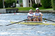 Henley, GREAT BRITAIN. Silver Goblets and Nickalls' Challenge Cup. New york Athletic Club, Bow Jamie KOVEN and Mike BLOMQUIST, at the start of their Saturday heat.  2012 Henley Royal Regatta.  ..Saturday  16:10:59  30/06/2012. [Mandatory Credit, Peter Spurrier/Intersport-images]...Rowing Courses, Henley Reach, Henley, ENGLAND . HRR.