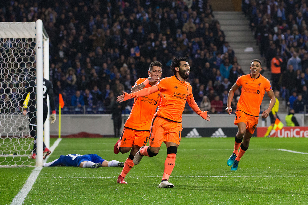Liverpool's Mohamed Salah celebrates scoring his side's second goal <br /> <br /> Photographer Craig Mercer/CameraSport<br /> <br /> UEFA Champions League Round of 16 First Leg - FC Porto v Liverpool - Wednesday 14th February 201 - Estadio do Dragao - Porto<br />  <br /> World Copyright © 2018 CameraSport. All rights reserved. 43 Linden Ave. Countesthorpe. Leicester. England. LE8 5PG - Tel: +44 (0) 116 277 4147 - admin@camerasport.com - www.camerasport.com