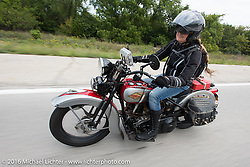 Cris Sommer Simmons having a blast riding her 1934 Harley-Davidson VD during Stage 6 of the Motorcycle Cannonball Cross-Country Endurance Run, which on this day ran from Cape Girardeau to Sedalia, MO., USA. Wednesday, September 10, 2014.  Photography ©2014 Michael Lichter.