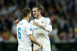 (L-R) Nacho of Real Madrid, Gareth Bale of Real Madrid during the UEFA Champions League final between Real Madrid and Liverpool on May 26, 2018 at NSC Olimpiyskiy Stadium in Kyiv, Ukraine