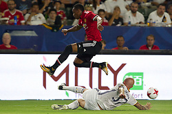 July 15, 2017 - Carson, California, U.S - Manchester United F Anthony Martial (11) and Los Angeles Galaxy D Jelle Van Damme (37) in action during the summer friendly between Manchester United and the Los Angeles Galaxy at the StubHub Center. (Credit Image: © Brandon Parry via ZUMA Wire)