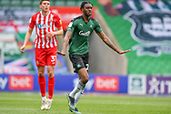 Plymouth Argyle Defender Jerome Opoku (24) gestures, shouts, pointing  during the EFL Sky Bet League 1 match between Plymouth Argyle and Sunderland at Home Park, Plymouth, England on 1 May 2021.
