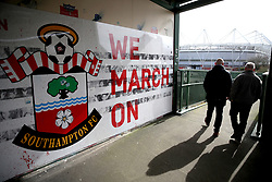 A general view of fans arriving at the stadium prior to the beginning of the Premier League match at St Mary's Stadium, Southampton.