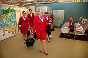 CRAWLEY, WEST SUSSEX, UK, OCTOBER 27TH 2011. Virgin Atlantic air stewardess at The Base training facility. These trainees have one week to go before they pass the 6 week course and collect their 'wings'. (Photo by Mike Kemp for The Washington Post)