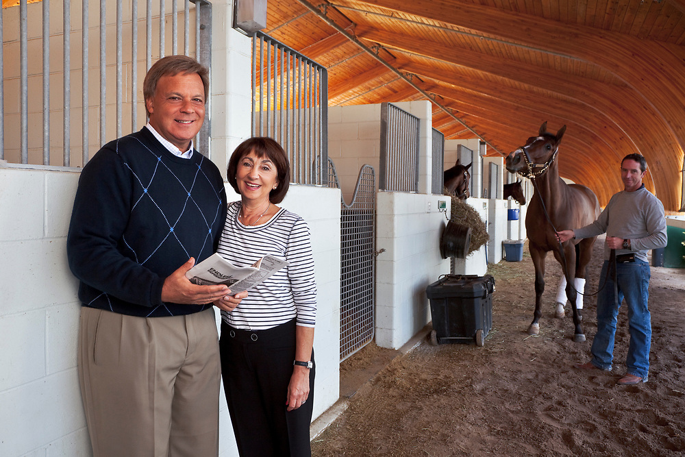 Couple with Their Racehorse in the Background, Receiving Barn, Gulfstream Park, Hollywood, FL