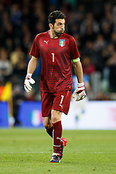Goalkeeper Gianluigi Buffon of Italy reacts after his side score a goal to make it 1-0 - Photo mandatory by-line: Rogan Thomson/JMP - 07966 386802 - 31/03/2015 - SPORT - FOOTBALL - Turin, Italy - Juventus Stadium - Italy v England - FIFA International Friendly Match.