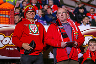Two welsh fans ahead of the Friendly European Championship warm up match between Wales and Trinidad and Tobago at the Racecourse Ground, Wrexham, United Kingdom on 20 March 2019.