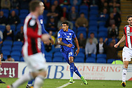 Nathaniel Mendez-Laing of Cardiff city (19) celebrates with teammates after he scores his teams 2nd goal. EFL Skybet championship match, Cardiff city v Sheffield Utd at the Cardiff City Stadium in Cardiff, South Wales on Tuesday 15th August 2017.<br /> pic by Andrew Orchard, Andrew Orchard sports photography.