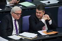 17 FEB 2016, BERLIN/GERMANY:<br /> Frank-Walter Steinmeier (L), SPD, Budnesaussenminister, und Sigmar Gabriel (R), SPD, Bundeswirtschaftsminister, im Gespraech, waerend der Regierunsgerklaerung der Bundeskanzlerin zum Europaeischen Rat, Plenum, Deutscher Bundestag<br /> IMAGE: 20160217-03-043<br /> KEYWORDS: Debatte, Gespräch