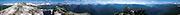 A panorama from Hidden Lake Peaks Lookout includes El Dorado Peak, Hidden Lake, Boston Peak, Mount Forbidden, Dome Peak, Glacier Peak, & Mt. Baker. North Cascades National Park and Mount Baker-Snoqualmie National Forest, Washington, USA.