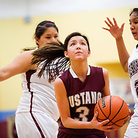 020913       Cable Hoover<br /> <br /> Ramah Mustang Jordyn Lewis (3) rushes past Rehoboth Lynx Tia Yazzie (22) Saturday at Rehoboth High School.