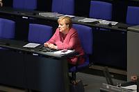 DEU, Deutschland, Germany, Berlin, 30.09.2020: Bundeskanzlerin Dr. Angela Merkel (CDU) bei der Generaldebatte im Plenarsaal des Deutschen Bundestags.