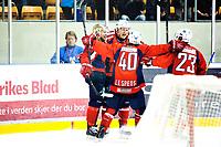 Ishockey , 6. April 2013, GET-Liga ,<br /> Lørenskog Ishockey - Vålerenga Ishockey<br /> Mats Frøshaug jubler for sitt mål til 5-2 med Kenny Corupe (gullhjelm) Lars Erik Spets (40) og Mats Trygg (23)<br /> Foto: Sjur Stølen , Digitalsport