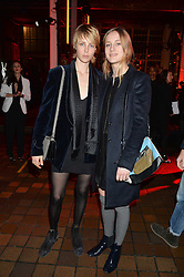 Left to right, sisters EDIE CAMPBELL and OLYMPIA CAMPBELL at the YSL Beauty: YSL Loves Your Lips party held at The Boiler House,The Old Truman Brewery, Brick Lane,London on 20th January 2015.