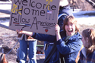 Fans  welcome Hostages returning to  the USA. A 17 mile motocade from Stuart Airport to West Point NY<br /><br />Photograph ny Dennis Brack. bb78