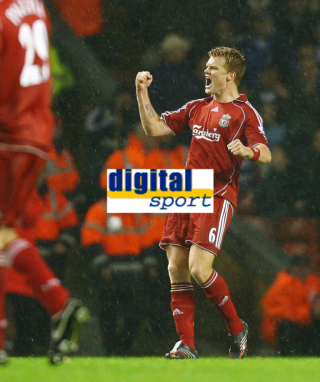 Fotball<br /> England <br /> League Cup 3rd round<br /> Liverpool v Reading<br /> Foto: Propaganda/Digitalsport<br /> NORWAY ONLY<br /> <br /> LIVERPOOL, ENGLAND - WEDNESDAY, OCTOBER 25th, 2006: Liverpool's John Arne Riise celebrates scoring the second goal against Reading during the League Cup 3rd Round match at Anfield