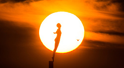 © Licensed to London News Pictures. 02/03/2020. Scarborough UK. The sun rises this morning behind the Diving Belle statue at Scarborough harbour on the Yorkshire coast. Photo credit: Andrew McCaren/LNP