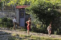 Going to school. Lesser Lake Prespa, Lake Prespa National Park, Albania June 2009