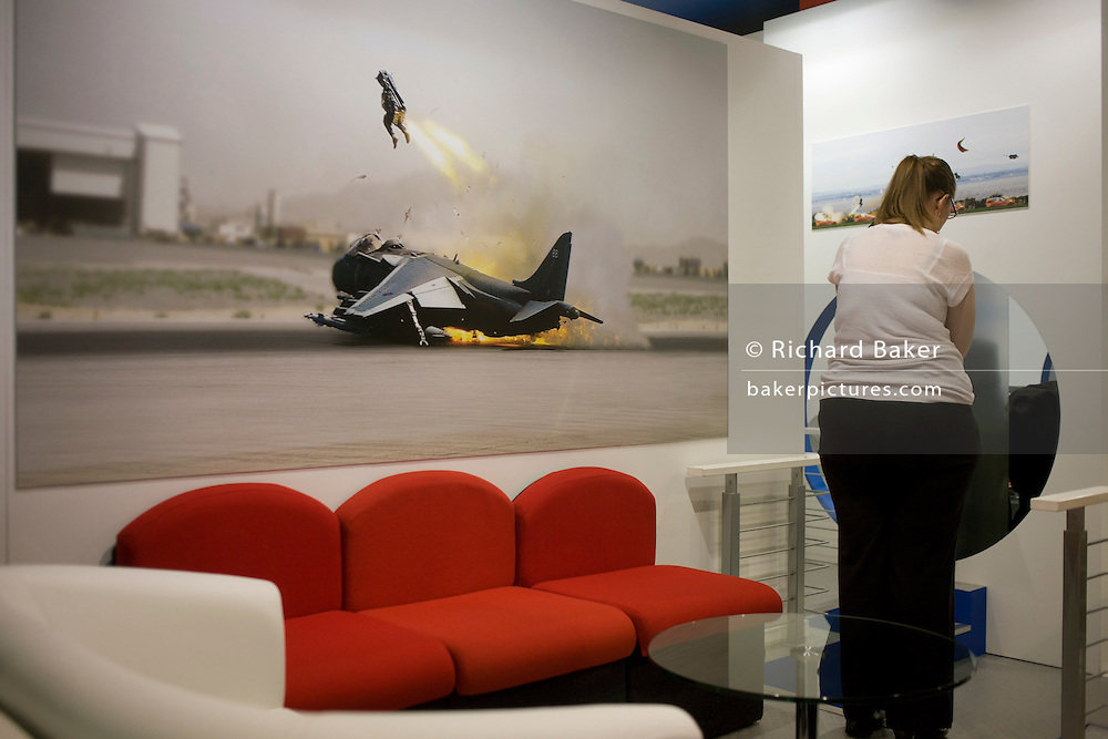 British ejection seat manfufacturer Martin-Baker's stand at the Farnborough Airshow.