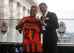 July 17, 2018 - Kiev, Ukraine - New Shakhtar Donetsk player Maicon (L) and head coach Paulo Fonseca (R) attend official presentation in Kiev, Ukraine, 17 July, 2018. (Credit Image: © Str/NurPhoto via ZUMA Press)
