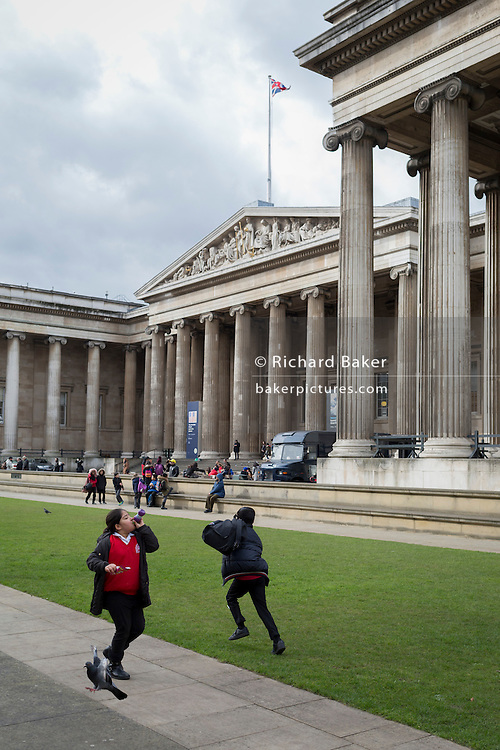 Schoolchildren visiting the British Museum, run around on the grass and bother pigeons, on 28th February 2017, in London, England.