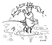 (Fly fisherman's hat being attacked by fish)