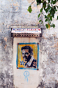 Colourful graffiti art on a wall in Pondicherry, India. Pondicherry now Puducherry is a Union Territory of India and was a French territory until 1954 legally on 16 August 1962. The French Quarter of the town retains a strong French influence in terms of architecture and culture.