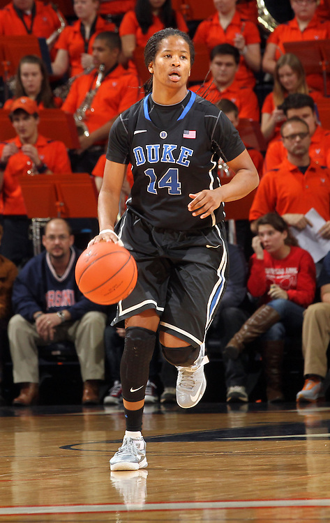 Duke guard Ka'lia Johnson (14) handles the ball during an NCAA college basketball game in Charlottesville, Va. Duke defeated Virginia 62-41...