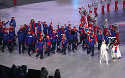 Great Britain athletes during the Opening Ceremony of the PyeongChang 2018 Winter Olympic Games at the PyeongChang Olympic Stadium in South Korea.