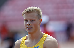 July 10, 2018 - Tampere, Suomi Finland - 180710 Friidrott, Junior-VM, Dag 1: Henrik Larsson SWE competes in 100m during the IAAF World U20 Championships day 1 at the Ratina stadion 10. July 2018 in Tampere, Finland  (Credit Image: © Kalle Parkkinen/Bildbyran via ZUMA Press)