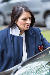 London, October 31 2017. International Development Secretary Priti Patel leaves the weekly UK cabinet meeting at Downing Street. © Paul Davey