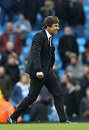 Antonio Conte manager of Chelsea walks off looking satisfied during the Premier League match at the Etihad Stadium, Manchester. Picture date: December 3rd, 2016. Pic Simon Bellis/Sportimage
