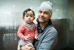 Portrait of Rok Flander, Slovenian Snowboarder with his daughter Jade two days before his fairwell run, on January 26, 2017 in 4Points by Sheraton Ljubljana Mons Hotel, Slovenia. Photo by Vid Ponikvar / Sportida