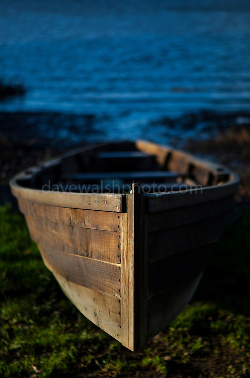 Slaney river cot, or handmade wooden estuary boat, Wexford, Ireland. (c) 2015 Dave Walsh