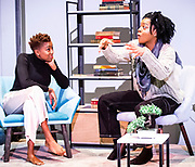 The Phlebotomist<br /> By Ella Road <br /> At Hampstead Theatre, London, Great Britain <br /> 22nd March 2019 <br /> Press photo call <br /> Directed by Sam Yates<br /> <br /> <br /> Jade Anouka as Bea<br /> Kiza Deen as Char <br /> <br /> Photograph by Elliott Franks