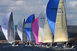 The Clyde Cruising Club's Scottish Series held on Loch Fyne by Tarbert. Day 2 racing in a perfect southerly..Class one downwind with GBR9192R ,Eos ,Rod Stuart ,CCC/PEYC ,Elan 410