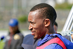 Birthday boy Lehlohonolo Majoro speaks to the media after his team's morning training session during the Cape Town City FC Media Open Day held at the Greenpoint Athletics Stadium in Cape Town, Western Cape, South Africa on the 19th August 2016.<br /> <br /> Photo by: Mark Wessels / Real Time Images.