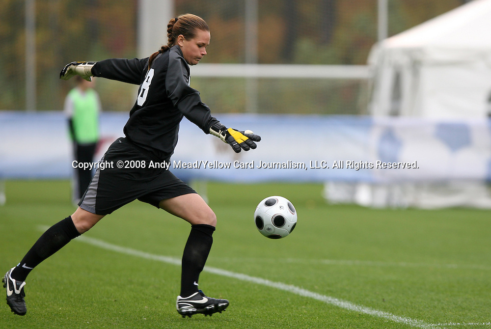 05 November 2008: North Carolina's Ashlyn Harris punts the ball up the field. The University of North Carolina defeated the University of Miami 1-0 at Koka Booth Stadium at WakeMed Soccer Park in Cary, NC in a women's ACC tournament quarterfinal game.